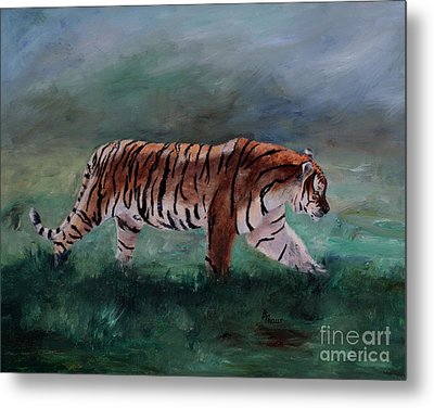 Metal Print featuring the painting On The Prowl by Brenda Thour
