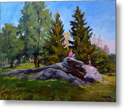 On The Rocks In Central Park Metal Print by Peter Salwen
