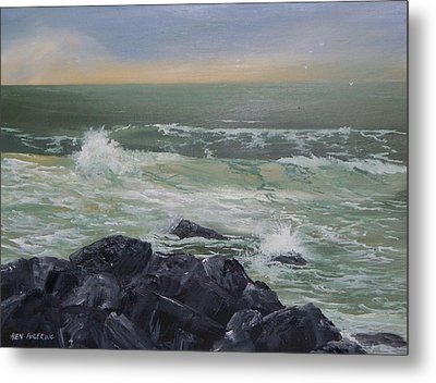 Metal Print featuring the painting On The Rocks by Ken Ahlering