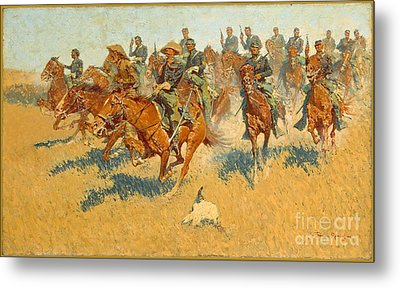 On The Southern Plains Frederic Remington Metal Print by John Stephens