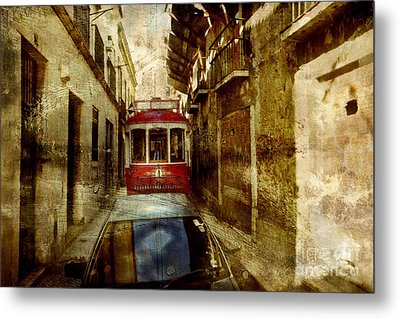 Metal Print featuring the photograph On The Streets Of Lisbon by Dariusz Gudowicz