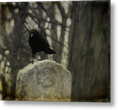 On The Tombstone By The Tree Metal Print by Gothicrow Images