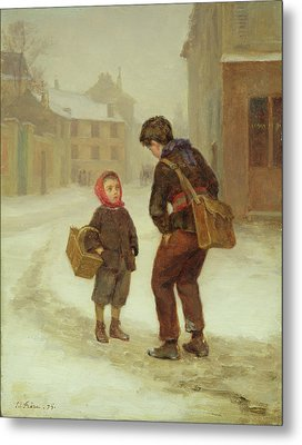 On The Way To School In The Snow Metal Print by Pierre Edouard Frere