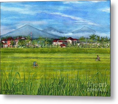 Metal Print featuring the painting On The Way To Ubud 3 Bali Indonesia by Melly Terpening