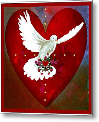 Metal Print featuring the digital art On The Wings Of Love by Mary Anne Ritchie