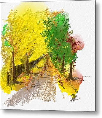 On The Yellow Road Metal Print by Angela A Stanton