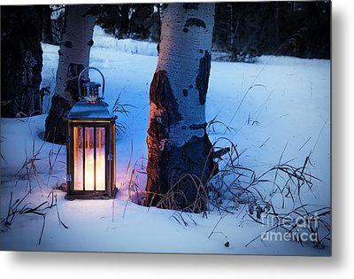 Metal Print featuring the photograph On This Winter's Night... by The Forests Edge Photography - Diane Sandoval