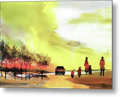 Metal Print featuring the painting On Vacation by Anil Nene