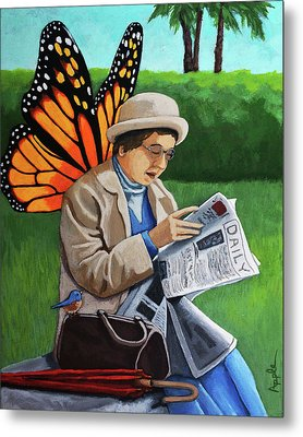 On Vacation -butterfly Angel Painting Metal Print by Linda Apple