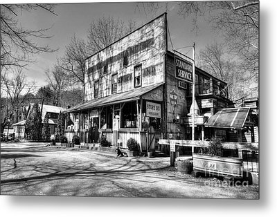 Once Upon A Story Black And White Metal Print by Mel Steinhauer