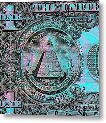 One-dollar-bill - $1 - Reverse Side Metal Print by Jean luc Comperat