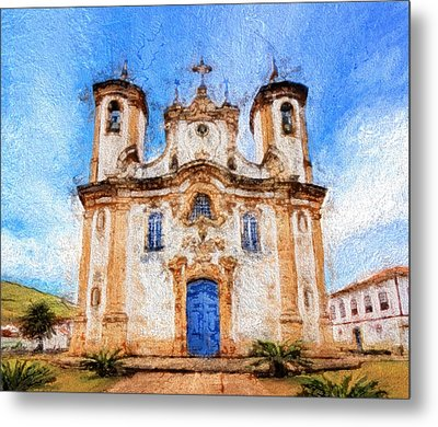 One More Church In Ouro Preto Metal Print by Andrea Ribeiro