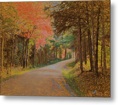 Metal Print featuring the digital art One More Country Road by John Selmer Sr