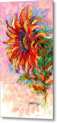 One Sunflower Metal Print by Marion Rose