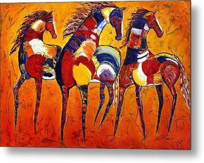 Metal Print featuring the painting One Tribe by Jennifer Godshalk