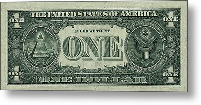 One U. S. Dollar Bill Reverse Metal Print by Serge Averbukh