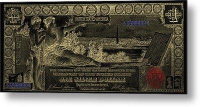 Metal Print featuring the digital art One U.s. Dollar Bill - 1896 Educational Series In Gold On Black  by Serge Averbukh