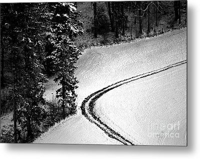 Metal Print featuring the photograph One Way - Winter In Switzerland by Susanne Van Hulst
