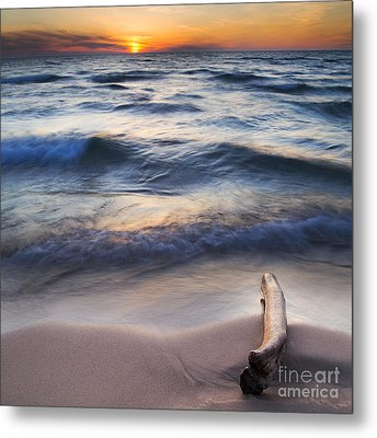 Onekama On The Beach Metal Print by Twenty Two North Photography