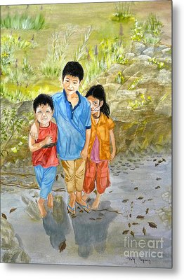 Metal Print featuring the painting Onion Farm Children Bali Indonesia by Melly Terpening