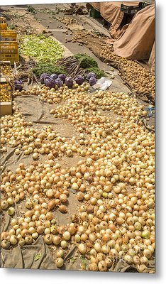 Onions On Display At A Farmer's Market In Spain Metal Print by Patricia Hofmeester