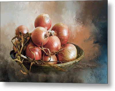 Metal Print featuring the photograph Onions by Robin-Lee Vieira