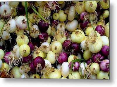 Metal Print featuring the photograph Onions Tri Color by Brenda Pressnall