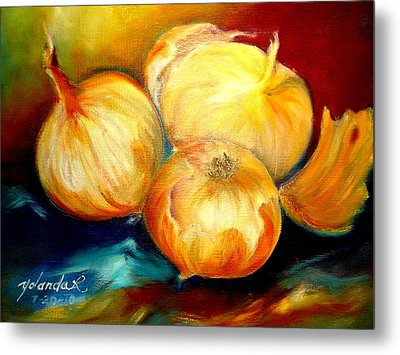 Metal Print featuring the painting Onions by Yolanda Rodriguez