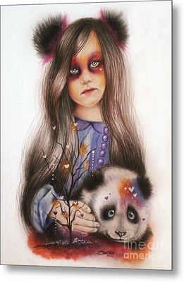Metal Print featuring the drawing Only Friend In The World - Panda Precious by Sheena Pike