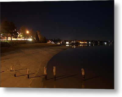 Metal Print featuring the photograph Onset Beach At Night by Greg DeBeck