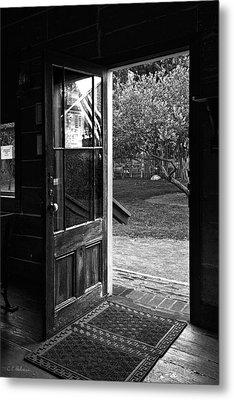 Open Door B-w Metal Print by Christopher Holmes