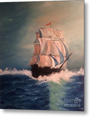 Metal Print featuring the painting Open Seas by Denise Tomasura