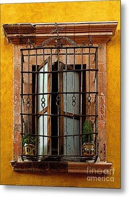 Open Window In Ochre Metal Print by Mexicolors Art Photography