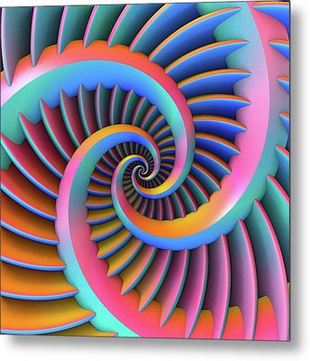 Metal Print featuring the digital art Opposing Spirals by Lyle Hatch
