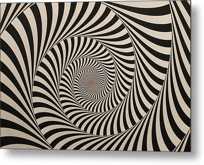 Optical Illusion Beige Swirl Metal Print
