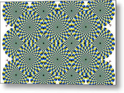 Optical Illusion Spinning Circles Metal Print