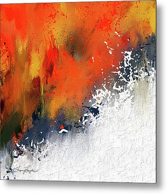 Splashes At Sunset - Orange Abstract Art Metal Print