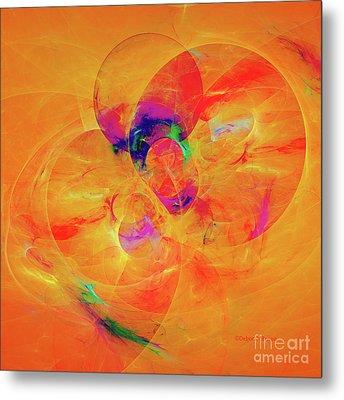 Orange Abstract Metal Print by Deborah Benoit