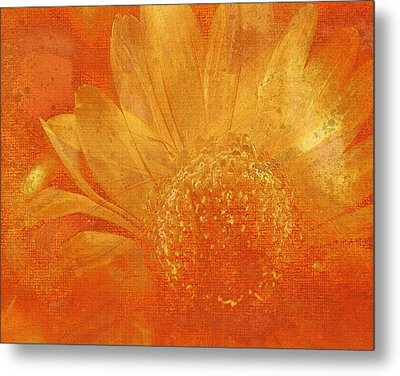 Metal Print featuring the digital art Orange Abstract Flower by Fine Art By Andrew David