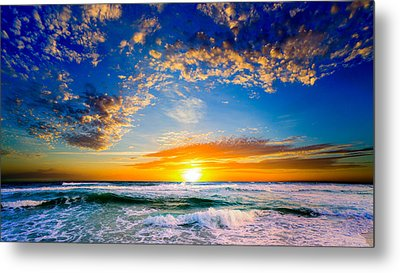 Metal Print featuring the photograph Orange And Blue Sunset Sun Setting Over The Ocean by Eszra Tanner