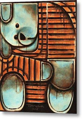 Orange And Blue Teddy Beart Art Print Metal Print by Tommervik