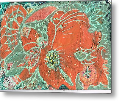 Orange And Green And A Tangerine Metal Print by Anne-Elizabeth Whiteway