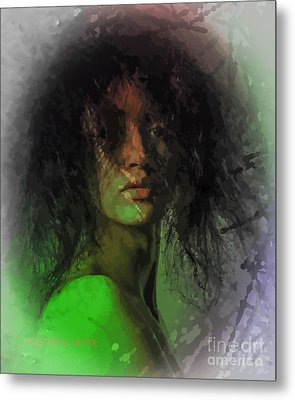 Orange And Green Metal Print