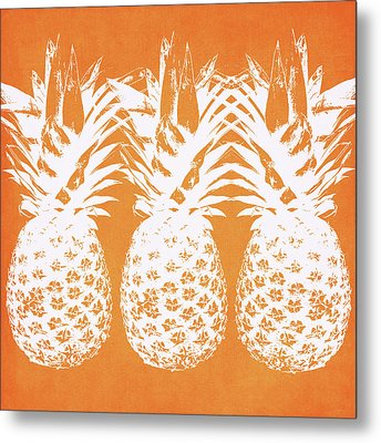 Orange And White Pineapples- Art By Linda Woods Metal Print
