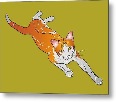 Orange And White Tabby Cat Metal Print by MM Anderson