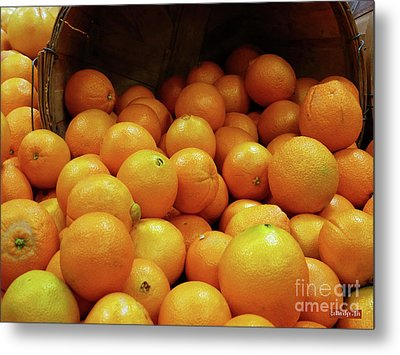 Orange Basket Metal Print