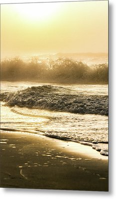 Metal Print featuring the photograph Orange Beach Sunrise With Wave by John McGraw