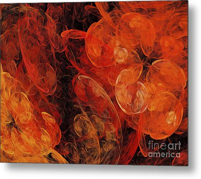 Metal Print featuring the digital art Orange Blossom Abstract by Andee Design