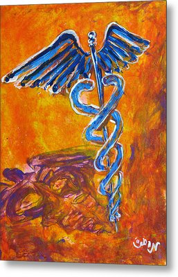 Orange Blue Purple Medical Caduceus Thats Atmospheric And Rising With Mystery Metal Print by M Zimmerman