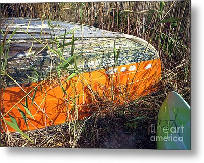 Metal Print featuring the photograph Orange Boat In The Dune by John Rizzuto
